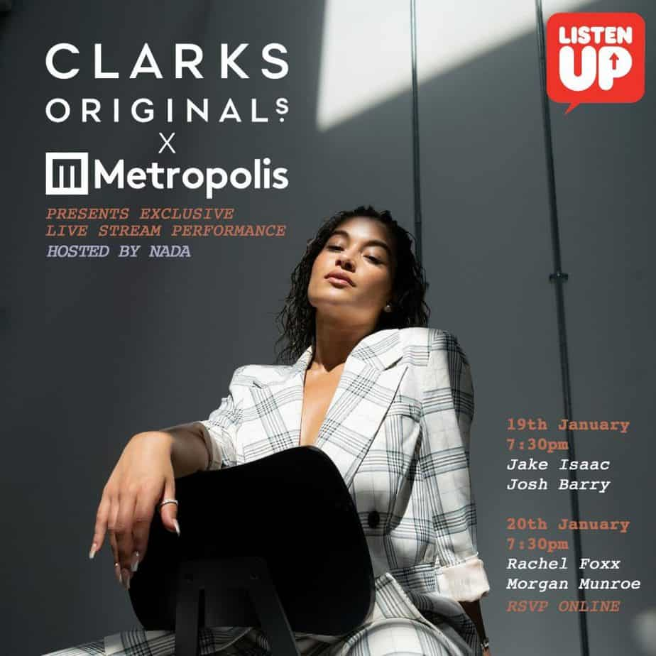 The promotional artwork for the Clarks Original x Metropolis Studios live-stream.