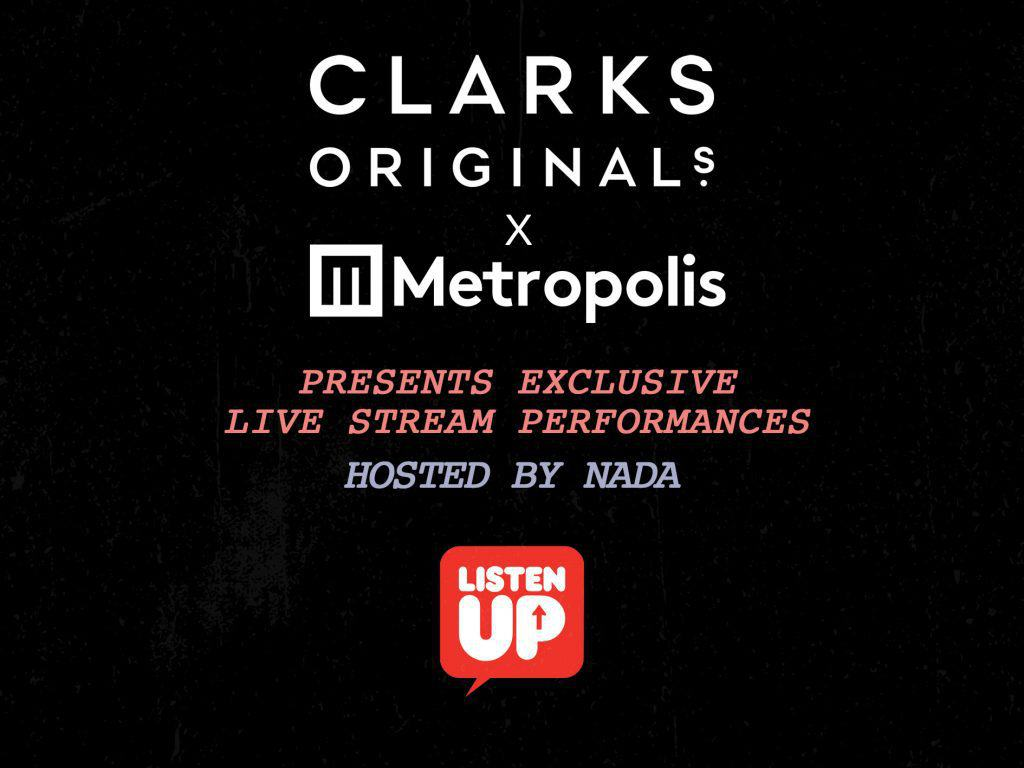 The promotional artwork for the Clarks Original x Metropolis Studios live-stream series.